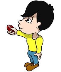Boy Holding Diamond - Cartoon Illustration