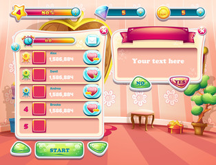 screens of the computer game, user interface. Set 2