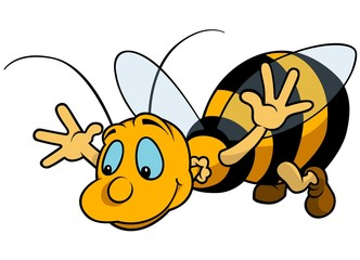 Flying Bumblebee - Cartoon Illustration