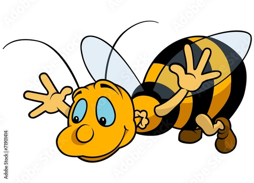 Flying Bumblebee - Cartoon Illustration - 71901414