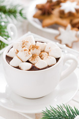 spicy hot chocolate with marshmallows in a cup, close-up