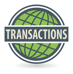 Abstract stamp or label with the text Transactions