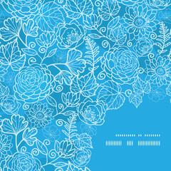 Vector blue field floral texture frame corner pattern background