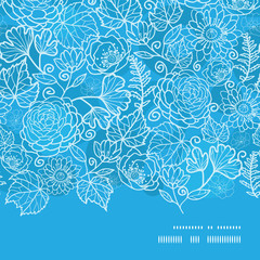 Vector blue field floral texture horizontal frame seamless