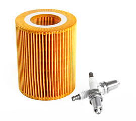 Oil filter and two spark plugs