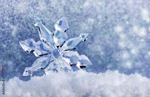 Leinwanddruck Bild ice crystal on snow
