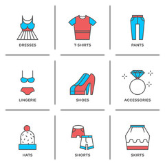 Clothes collection line icons set
