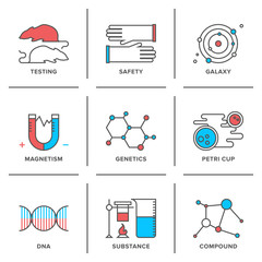 Genetics and lab testing line icons set