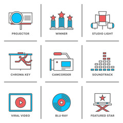 Movies production line icons set