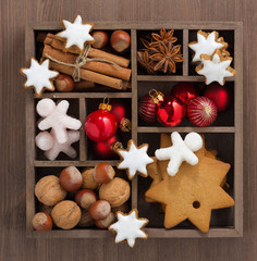 wooden box with Christmas symbols, top view