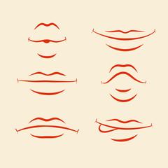 Lips emotions set