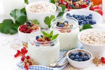 yogurt with berries and products for healthy breakfast
