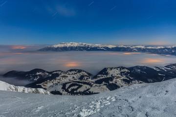 winter mountain in night