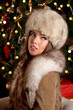 Closeup of a beautiful wealthy woman at Christmas