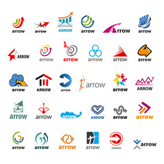 large set of vector logos arrow