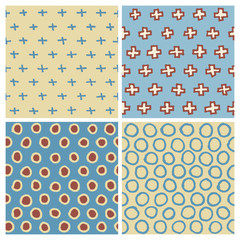 Hand Drawn Seamless Pattern Set: Cross (plus sign) and Circle