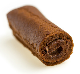 Closeup of unhealthy chocolate roll