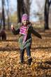 little girl  run in park.