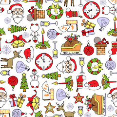 Vector pattern with cartoon symbols of new year