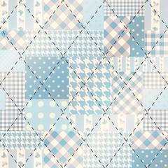 Blue patchwork with diagonal stitch.