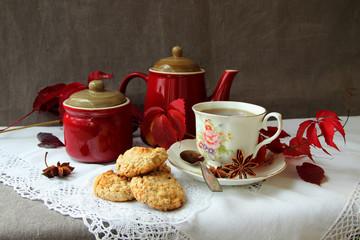 Tea with homemade oatmeal cookies.