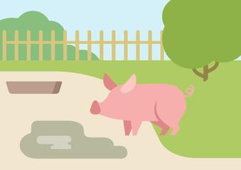 Pig puddle mud flat design cartoon vector farm animals