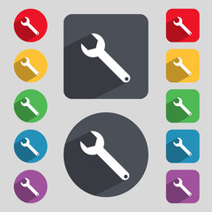 Wrench key sign icon. Service tool symbol. Set of colored