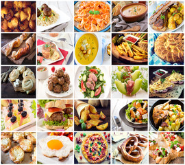 Many kind of differentfood photos in one