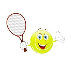 Cartoon tennis ball holding