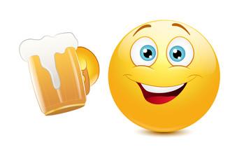 Emoticon cheering with beer