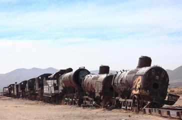 the old train at the train cemetary near Uyuni