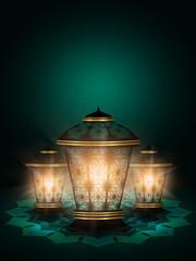 diwali lanterns shining over dark background