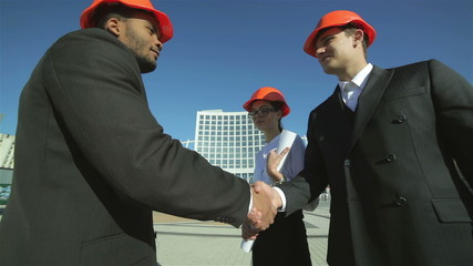 New construction transactions. Three confident business architec