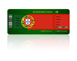 air ticket with Portugal flag isolated over white