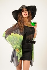 Elegant lady nice pose with glass hat and special dress