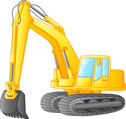 excavator isolated on white