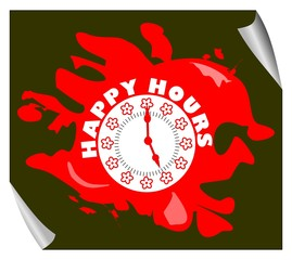 Grunge happy hours pictogram in splotch in red with clock face