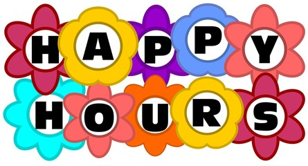 Happy hours inscription in multicolored flowers