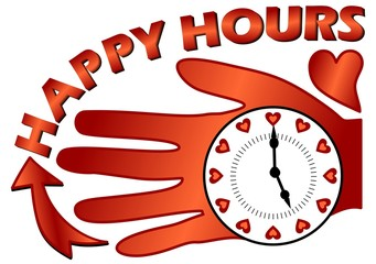 Happy hours billboard with a clock on the palm