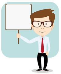 Cartoon teacher explaining and pointing at blank white board,