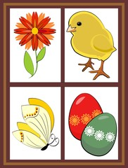Spring window with  chicken, flower, butterfly and colored eggs