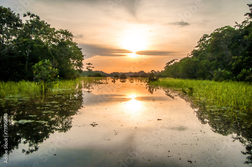 Leinwanddruck Bild River in the Amazon Rainforest at dusk, Peru, South America