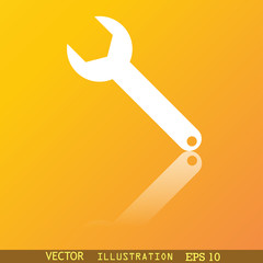 Wrench key icon symbol Flat modern web design with reflection