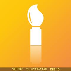 Paint brush icon symbol Flat modern web design with reflection