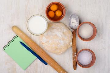 dough, flour, eggs, milk, salt, sugar, baking ingredients