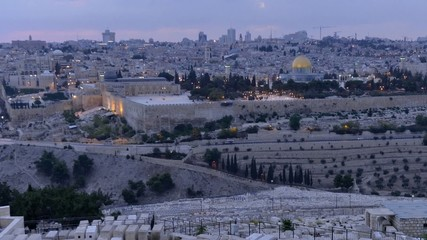 Jerusalem by sunset as seen from the mount of olives