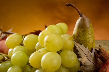 White grape and pear, close-up