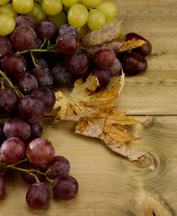 Grapes on wooden board