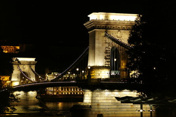 puente iluminado en budapest