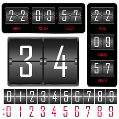 Vector horizontal and vertical hours and board of numbers.